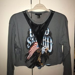 Forever 21 long sleeved mesh cut out graphic tee!